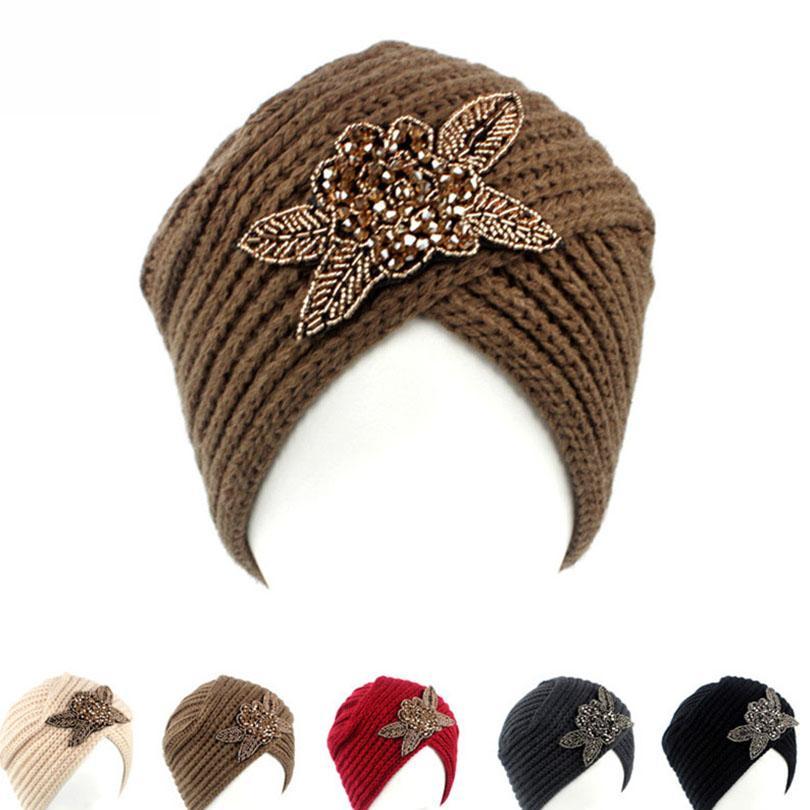 39e12532fe5 Muslim Vintage Winter Hat Warm Knit Cap Print Flower Beanie Sleep ...