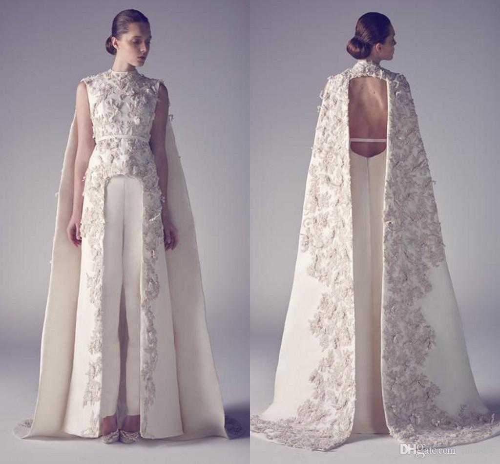 Arabic Evening Dresses Zuhair Neck Long Prom Gowns Applique Sheath Pageant Split Front Best Formal Evening Dress For Wedding hhhsky