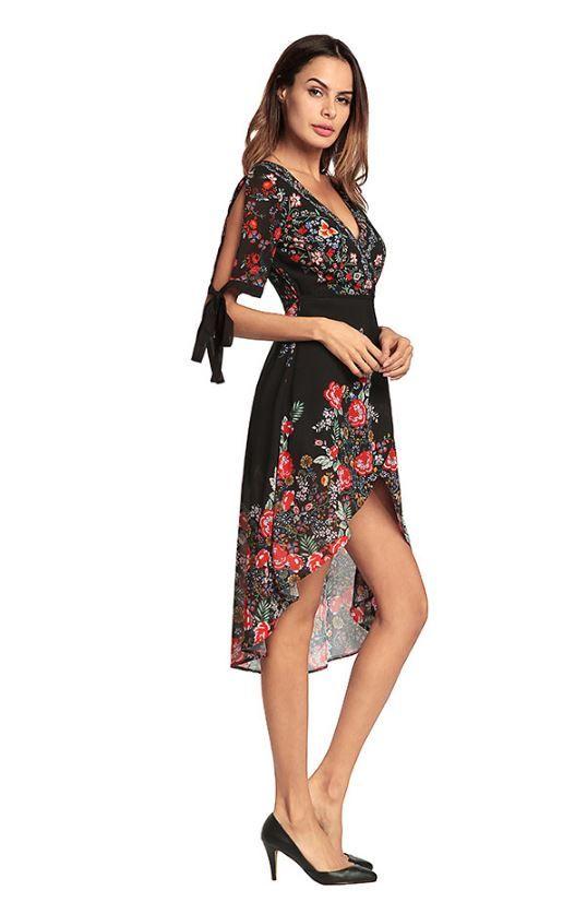 2018 spring and summer new dress, Bohemia printed skirt, V collar irregular chiffon dress, factory direct sales, color black