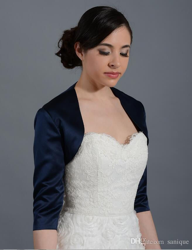 2018 Vintage Bolero Marineblau 3/4 Ärmel Satin Bolero Jacke aus Braut Satin Braut Jacke für Bräute Hochzeit Wraps