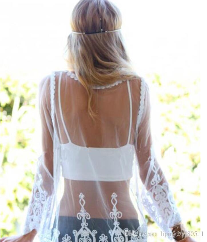 Dame Gaze Netz bedeckt sexy Spitze Top Frau durchschauen weiß schwarz Strandkleid Langarm Stickerei Spitzenhemd Bluse