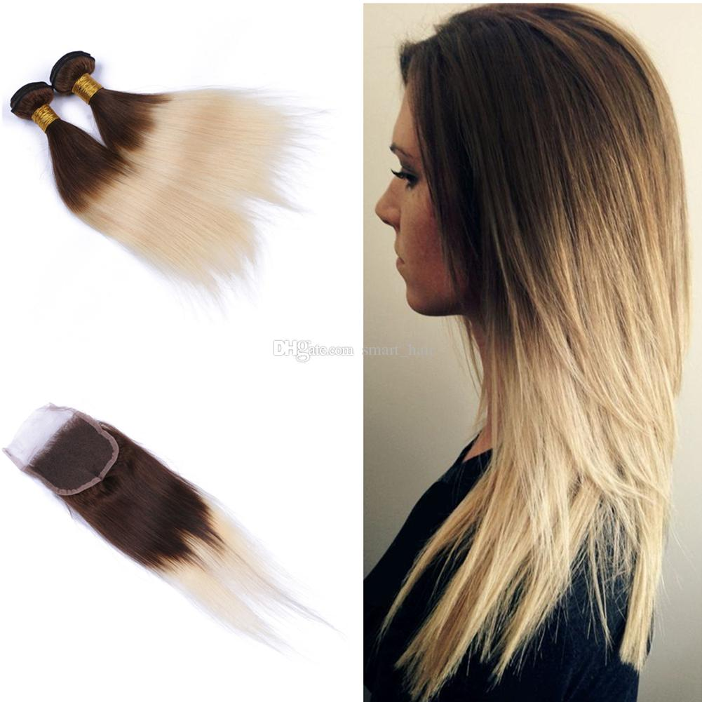 2019 Medium Brown And Blonde Silky Straight Hair 3bundles With Lace