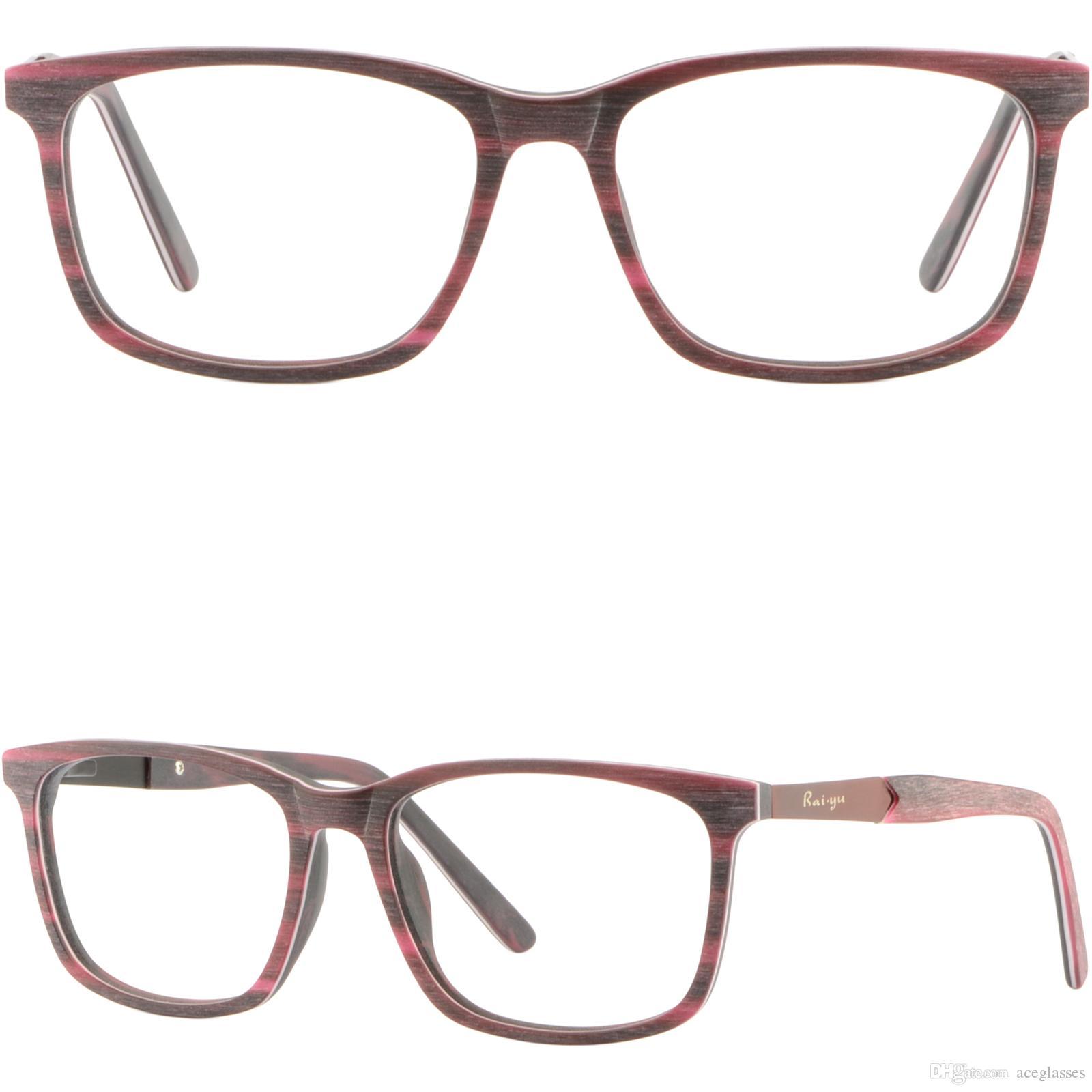 Square Red Mens Womens Acetate Frame Rectangular Glasses Eyeglasses ...