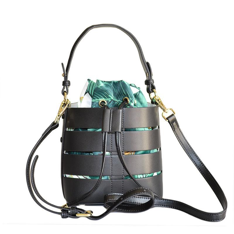 3c0e0acd4e83 Fashion Genuine Leather Bucket Bag Handbag Luxury Designer Genuine Leather  Shouder Bucket Inside Flower Print Silk Bag Leather Totes Jo Totes From ...