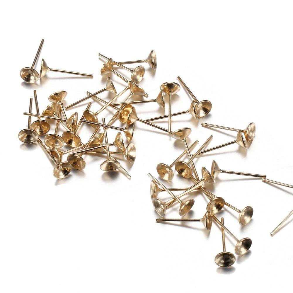 13*6mm Stud Earring Blank Base Paste Beads Base Gold/Silver Color Ear Post Ear Stud for DIY Jewelry Earring setting Making