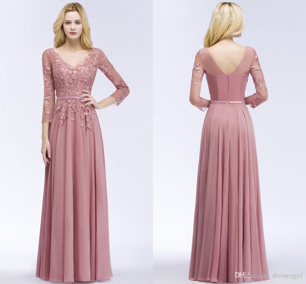 100% Real Image Chiffon Long Evening Dresses Appliques V Neck Zipper Back  3 4 Long Sleeve Floor Length Formal Party Dresses CPS911 a Line Prom Dresses  ... 092e2e861