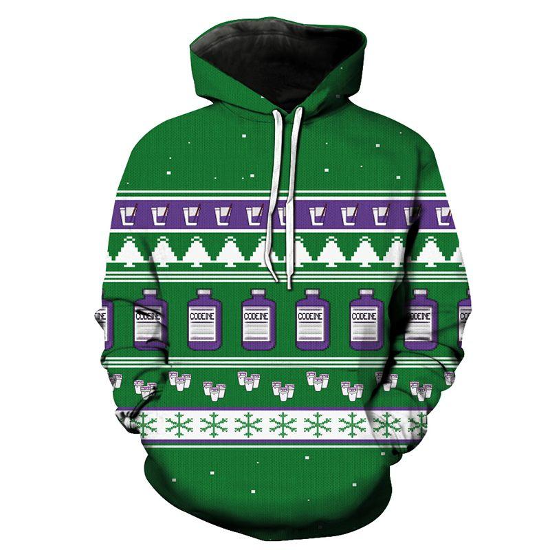2018 Men Hoodie Christmas Xmas Milk Snowflake Green 3D Full Print ...