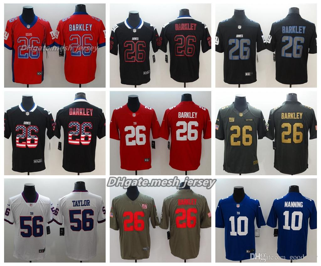super popular cb204 084da Men New York Jersey Giants 26 Saquon Barkley 10 Eli Manning 56 Lawrence  Taylor Color Rush Football Stitching Jerseys