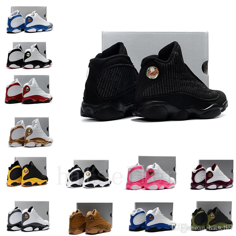 newest 57b2c d705c 13s kids basketball shoes Black Cat Flint Wolf Grey DMP He Got Game  Altitude Chicago Red Bred HOF boy girl children 13 sneakers US11C-3Y