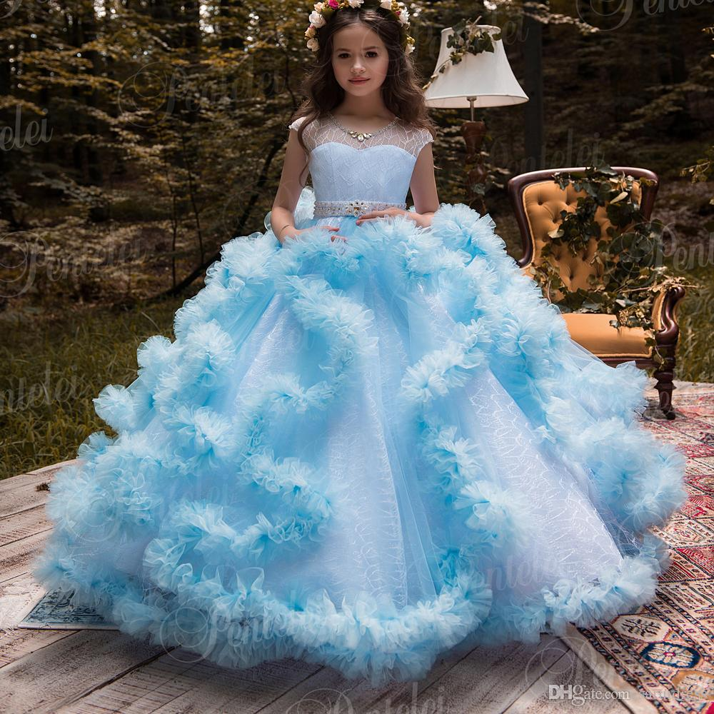 Cute Ball Gown Flower Girls Dresses For Weddings Ruched Tulle Skirt ...