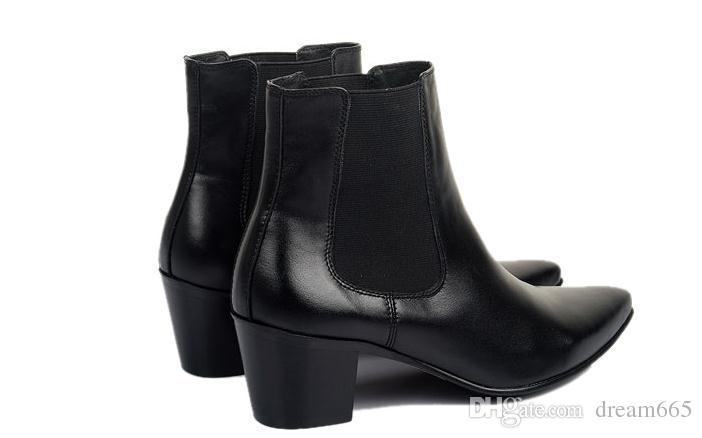 Yeni erkek Sonbahar kış moda İngiliz sivri toes Hakiki deri çizmeler yüksek çizmeler artış 7 cm Elbise deri ayakkabı kısa çizmeler