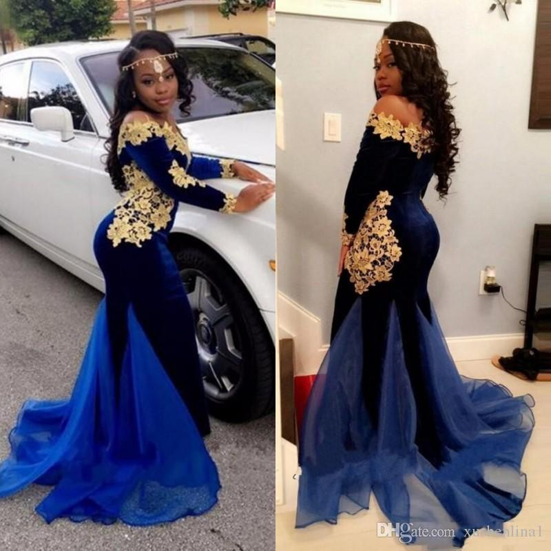 98b735ac876 2018 Black Girls South African Prom Dresses Off The Shoulder Mermaid Long  Sleeve Prom Dress Fashion Velvet Golden Lace Applique Party Dress Pregnant  Prom ...
