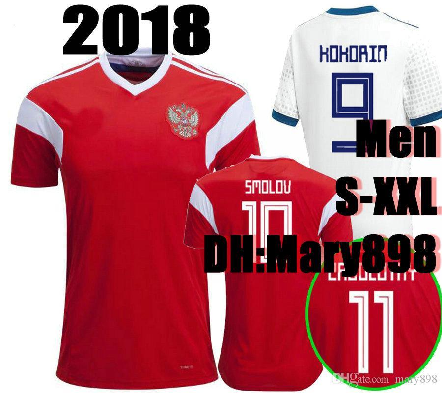 Compre Top Qualidade Tailandesa 2018 Rússia Copa Do Mundo Vermelho Camisa  De Futebol 2018 Cinza Branco Kokorin Arshavin Kerzhakov Yusupov Dzagoev  Camisa De ... c902bb885c4cf
