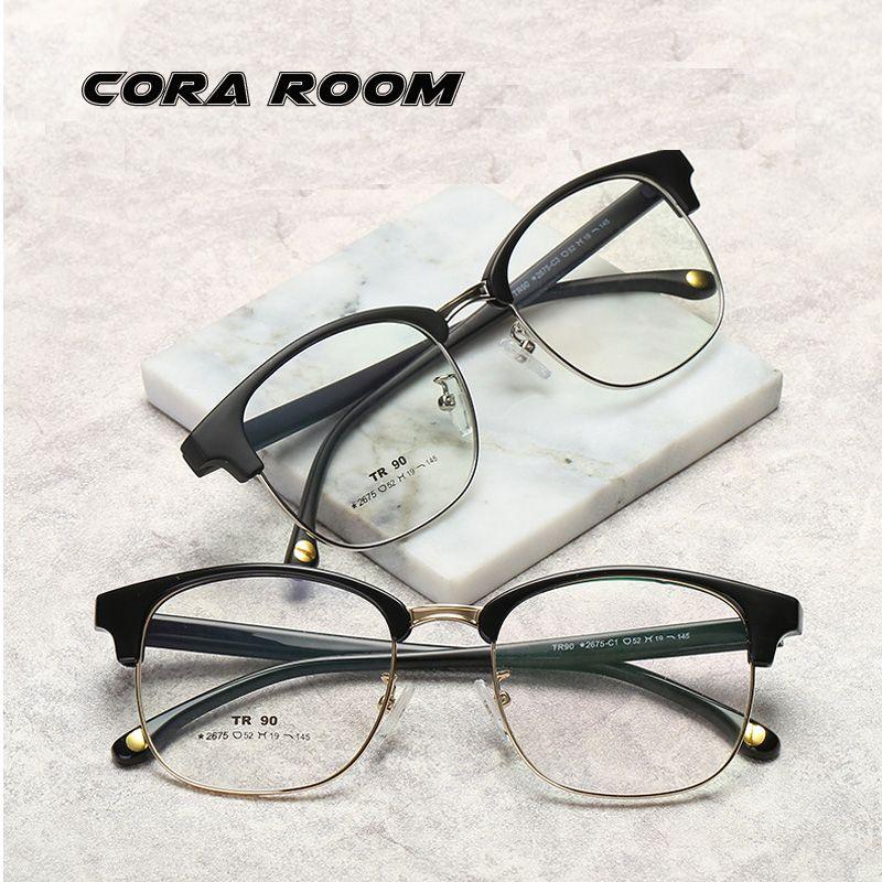 f3104db8a14b New Half Frame Metal Retro Flat Mirror Men s TR90 Glasses Frame ...