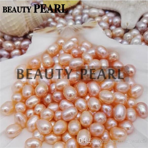 Rice Teardrop Shape Loose Freshwater Cultured Pearls 6*8mm One Hole Half Drilled Natural Pearl