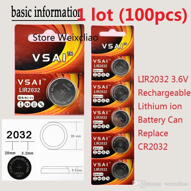 100 قطع 1 وحدة LIR2032 3.6 فولت بطارية ليثيوم أيون قابلة خلية زر 2032 3.6 فولت بطاريات ليثيوم أيون عملة CR2032 vsai مجانية