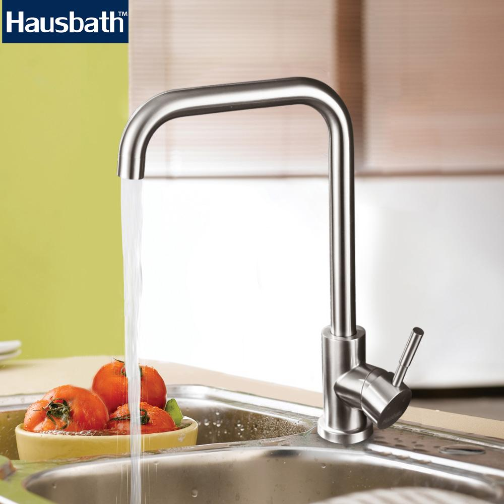 Contemporary Kitchen Faucet Stainless Steel Single Handle 360 Degree  Rotating Mixer Tap Hot And Cold Water
