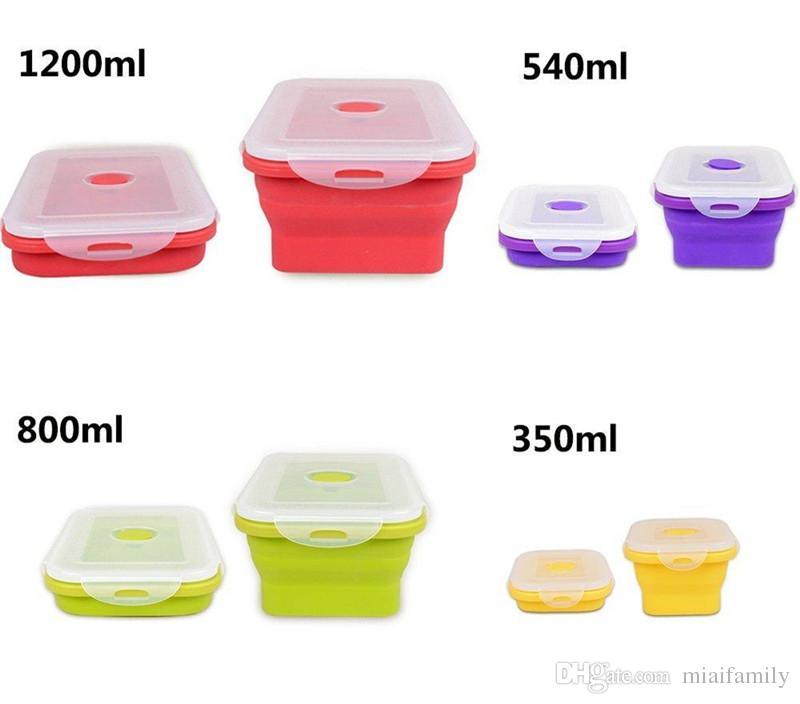 4 실리콘 에코 접이식 도시락 상자 휴대용 접는 음식 저장 용기 350ml 540ml 800ml 1200ml Shipping Free