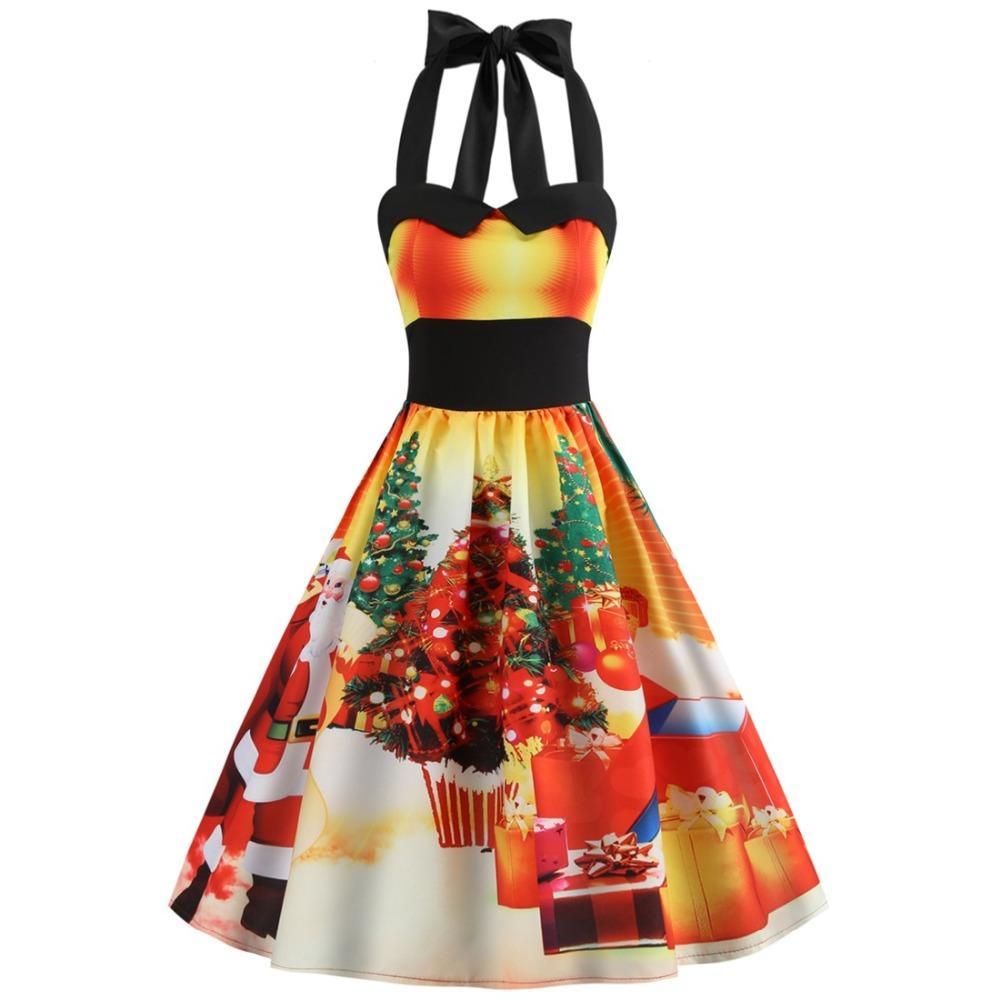 women christmas dress 2018 floral slim vintage dress sleeveless casual elegant party festival gift dresses costume plus size girls costumes spiderman - Vintage Christmas Dress