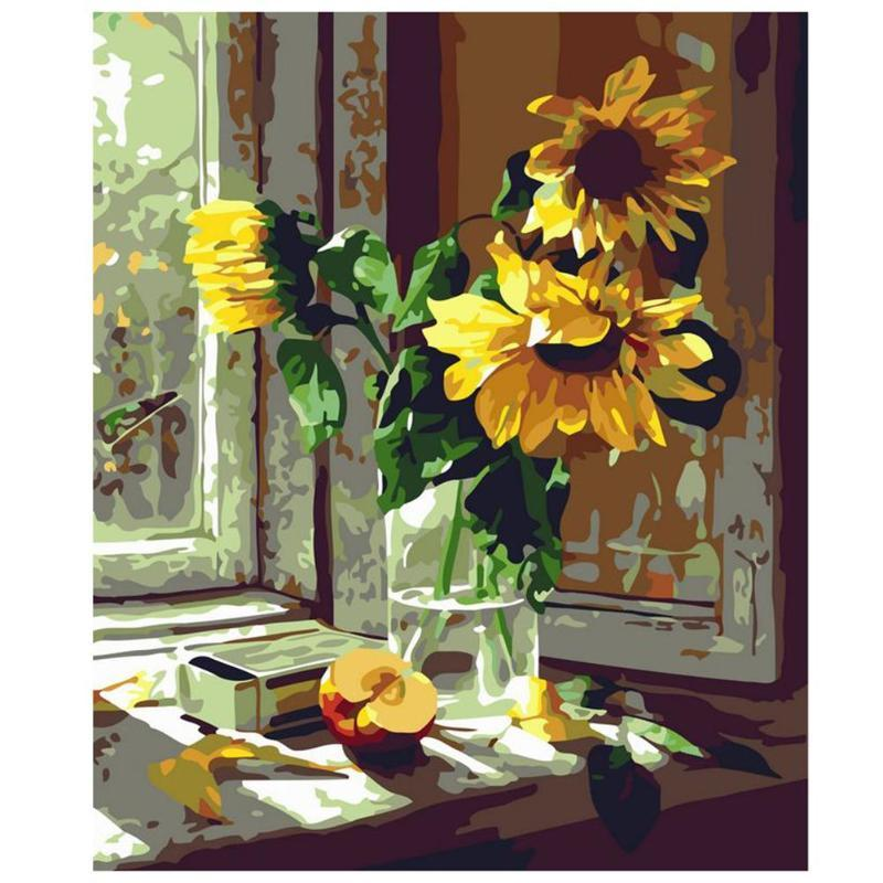 225 & Flowers Vase Frameless 5D DIY Digital Oil Painting Wall Art Pictures Set Unique Gifts Home Decoration 40x50cm