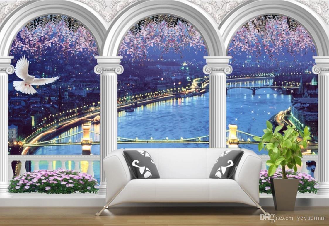 Papier peint personnalisé pour murs 3 d Arches paysage Salon Canapé Chambre à coucher fond Non-tissé 3d peintures murales