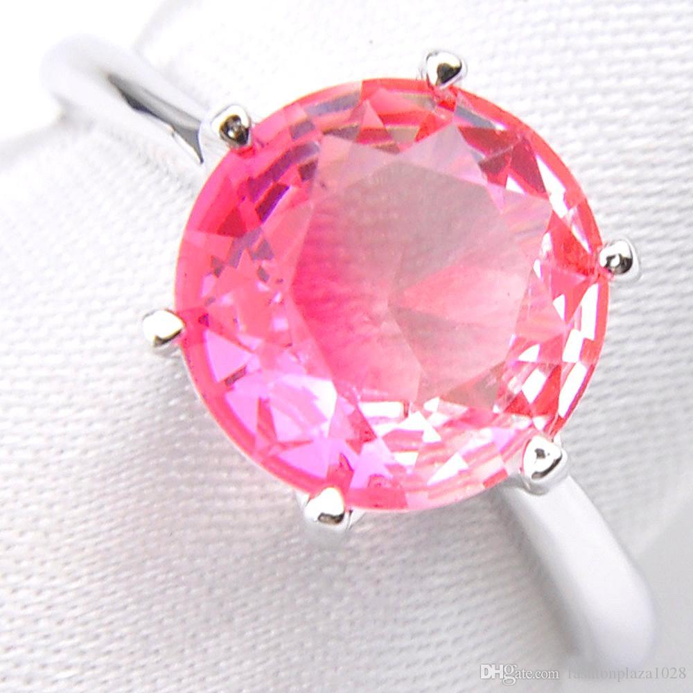 Luckysthine Moda gioielli popolari le donne 925 anello timbro rotondo rosa tourmalina gemma 925 sterling argento placcato anelli nuziali placcati