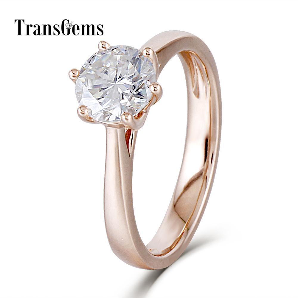 e035aa24b4fd Compre Transgems Center 1ct Anillo De Compromiso De Oro Rosa Para Mujer 10K  De Oro Rosa 1 Quilate 6