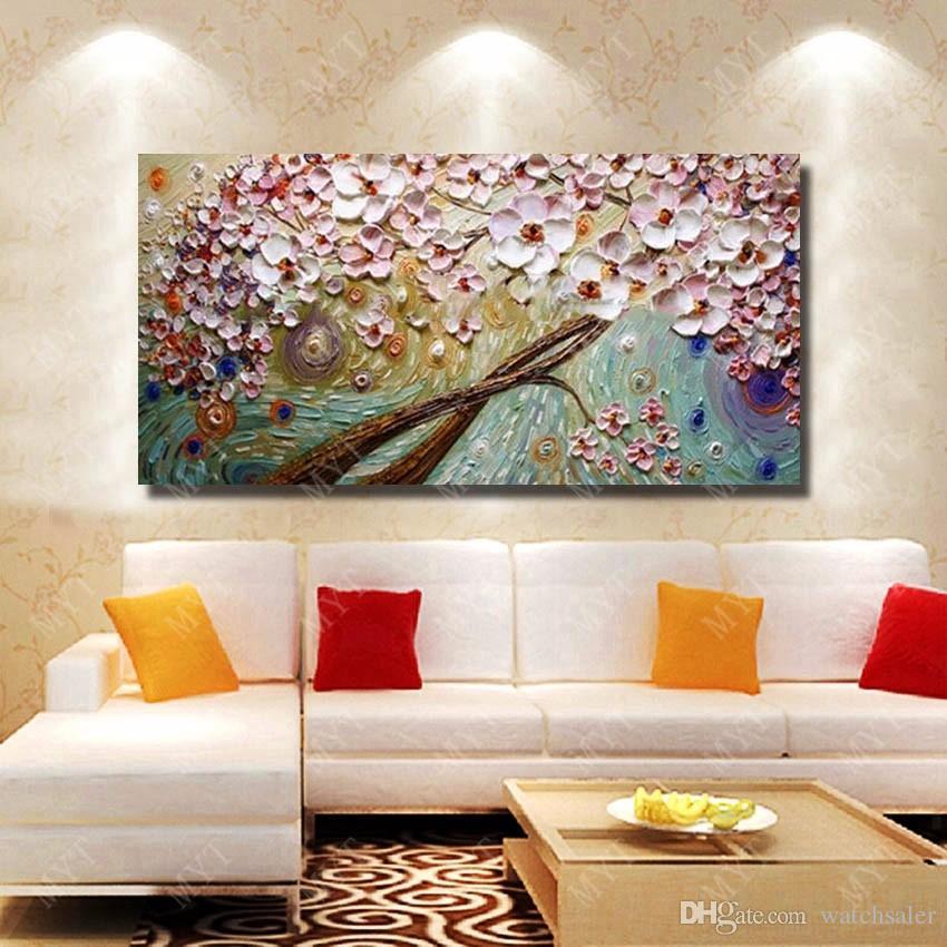 Großhandel 1 Stück Moderne Wohnzimmer Wand Dekor Schöne Blume Ölgemälde  Moderne Leinwand Kunst Handgemalte Messer Malerei Kein Gestaltet Von ...