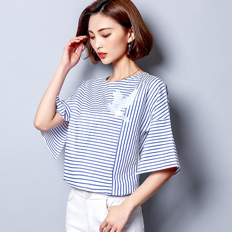 48f775183fc Summer 2018 Casual T Shirt Women White Top Blue Striped Bird Print Design T  Shirt Cotton Loose Short Sleeve T86194 Purchase T Shirt Crazy Tee Shirts  Online ...