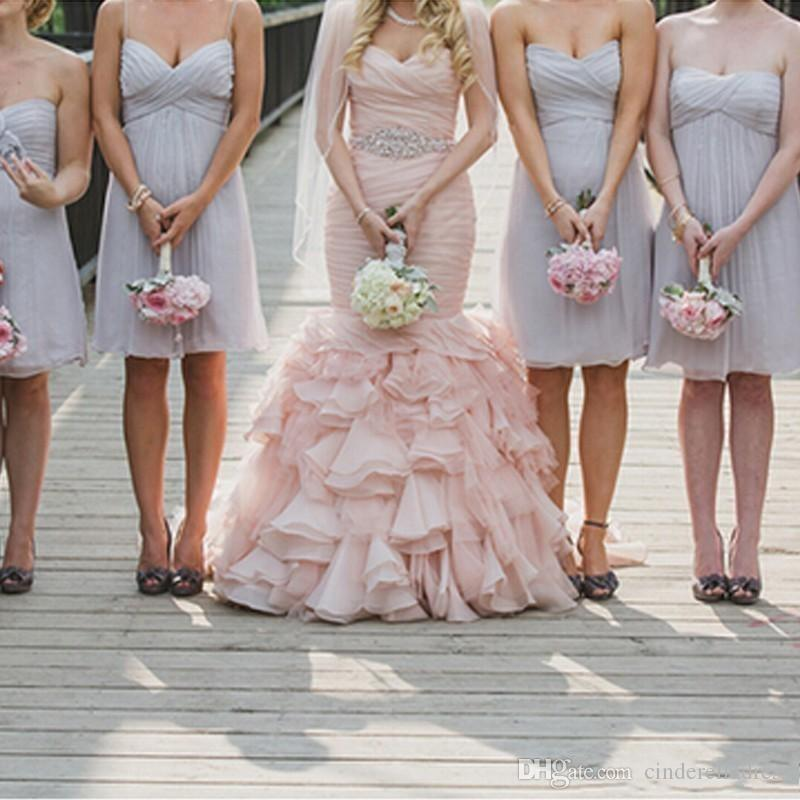 2018 Blush Pink Sweetheart Mermaid Wedding Dresses Organza Sweep Train Lace Up Cascading Ruffles Bridal Dress Custom Made