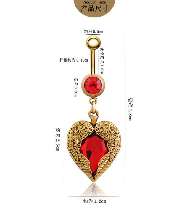Golden Love Heart Dangle Wing Body Piercing Rhinestone Navel Belly Button Ring Puncture jewelry wholesale