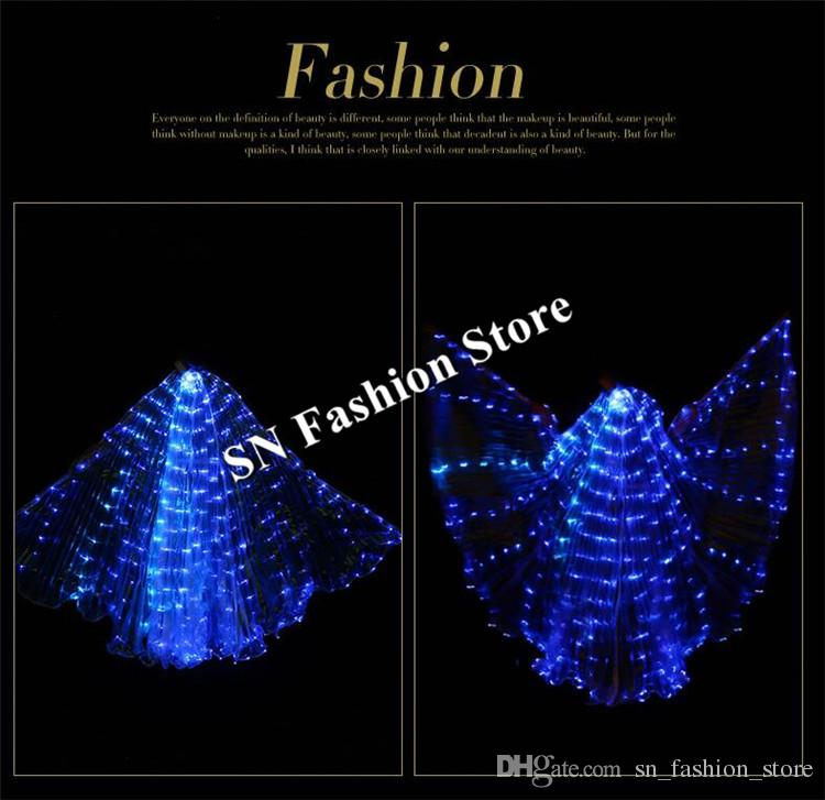 BC37 Women led dress ballroom bellydance led costumes luminous wings led cloak lighted glowing bar stage wears dancer show disco performance