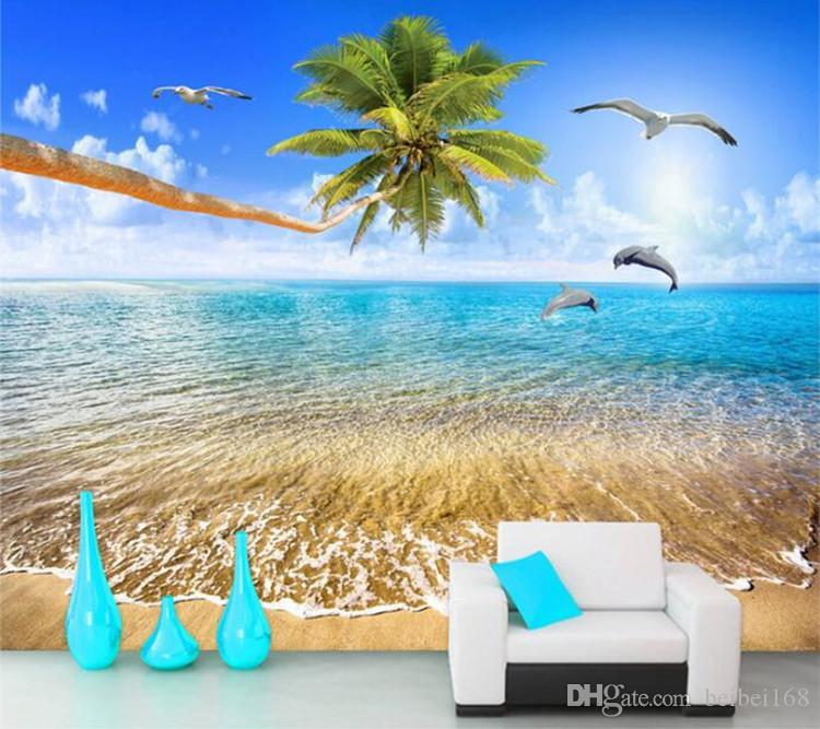 Custom Mural Wallpaper Sea View Beach Coconut Trees Dolphin Photo Background Wall Painting Living Room 3D Wall Murals Wallpaper