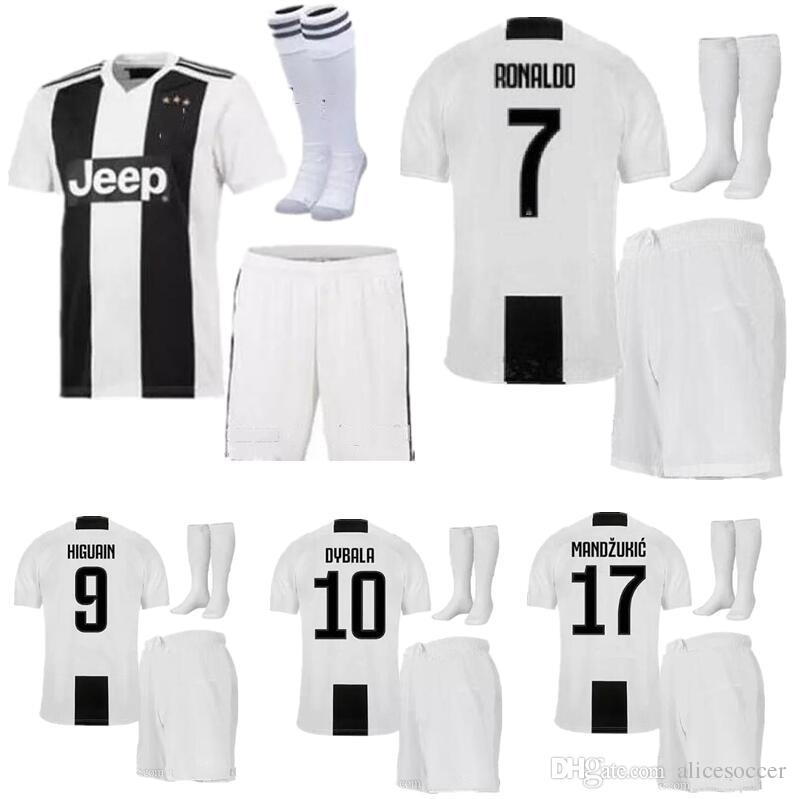 on sale f4d75 21cbc ^_^ Wholesales JUVentus soccer Jersey kids home kits socks RONALDO 2019  juven soccer jerseys shirts uniforms 18 19 football shirt boy set