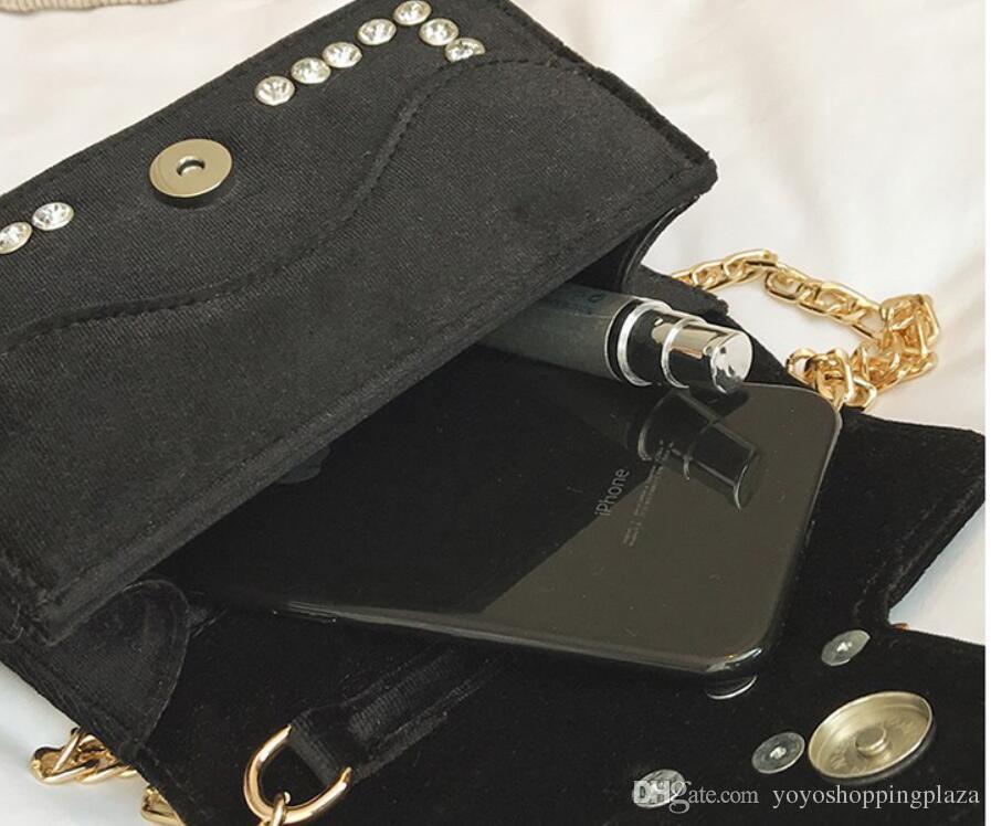 сумки сумка кожа новый прибытия корейской моды бархат Rhinestone пчелы дизайнер цепи мешок крест тела