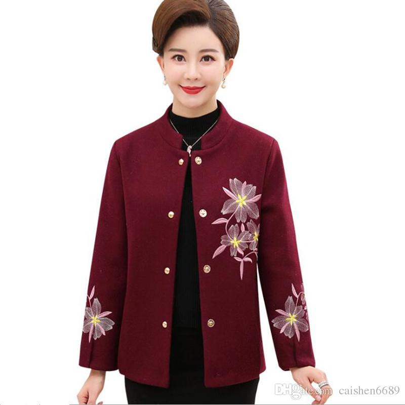 1d8208d18bf2b 2019 2018 New Fall Winter Women Coat Fashion Clothing Woolen Embroidery  Jacket Coat Comfort Slim Wild Women Jacket Plus Size XL 4XL From  Caishen6689, ...