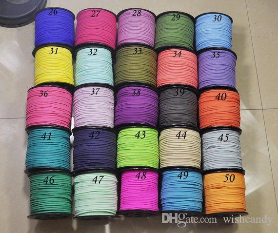 09d772b80da8 100 yardas / lote 3 mm cordón de cuero de gamuza sintética plana,  suministros de cordón de cuerda de cuero de bricolaje, encaje de gamuza ...