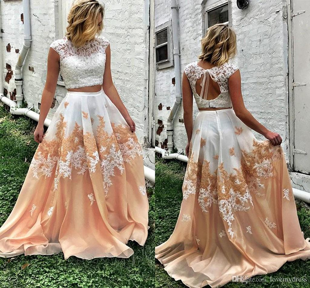 a4d3af5bfa7dc White And Champagne Prom Dress Long Cheap 2018 New Style For Women Dress  Cap Short Sleeves Applique Lace Beaded Keyhole Back Evening Gowns