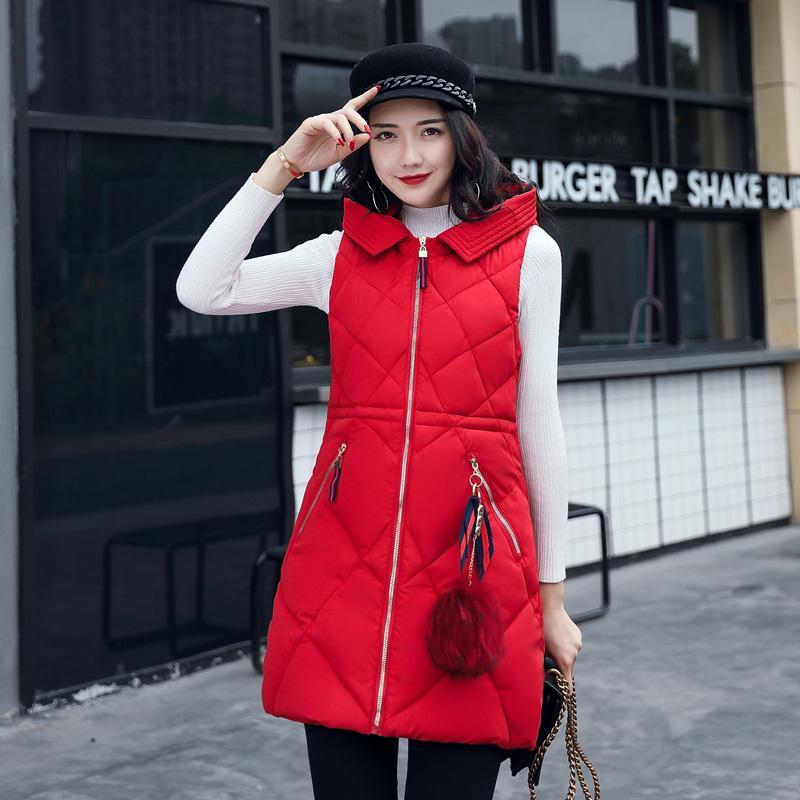 Good vest coat woman winter 2017 new long vest coat female cotton padded down jacket pockets parkas hooded sleeveless hot sale