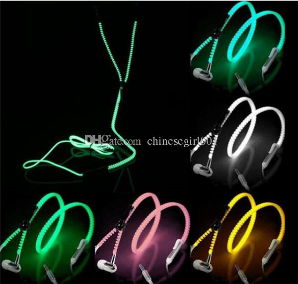 Luminous Glow Light Metal Zipper Auricular Glow In The Dark Zipper Auricular Auricular con cable Auricular con caja para iPhone Samsung LG