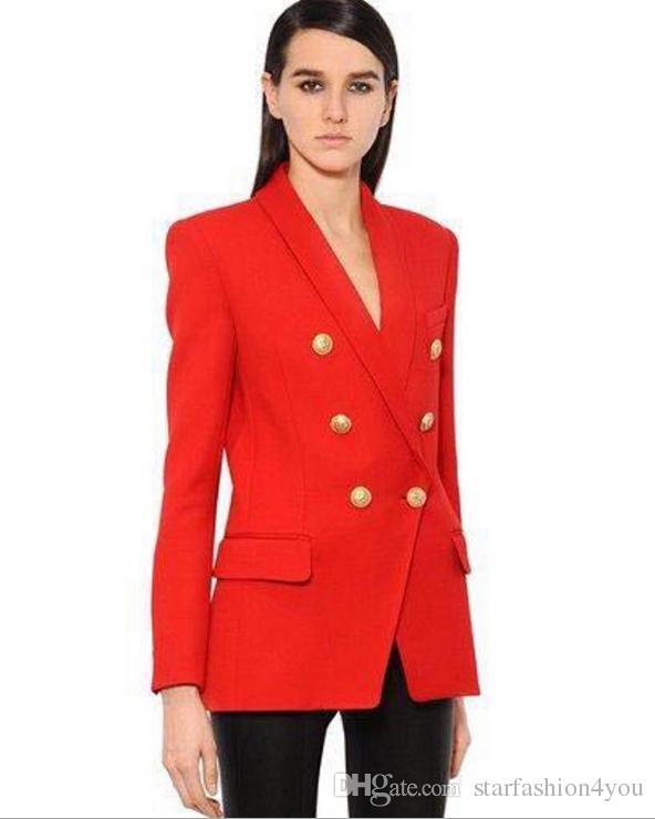 Premium-New Art-hochwertige Original-Design Frauen zweireihigen dünne Jacken Metallschnallen Blazer Retro Schalkragen Outwear 3 Farben
