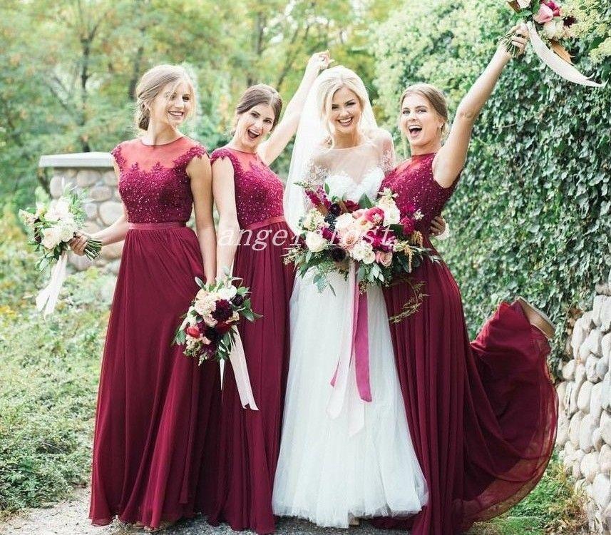 Cheap Wedding Dresses Under 500 Dollars: Chic Dark Red Bridesmaid Dresses 2019 Jewel Floor Length
