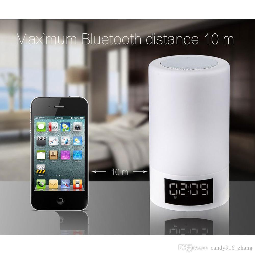 Bluetooth Lautsprecher Dimmble LED Bunte Lampe Nacht Lampe Warm Soft Light Show Zeit und Datum Wecker Groß-und Einzelhandel