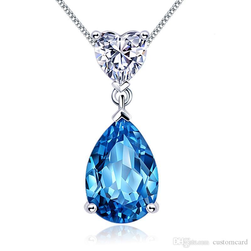 fce5b0a5937d Compre Azul Cubic Zirconia Collar Llamativo Corazón De Plata De Ley Gota De  Agua CZ Colgante