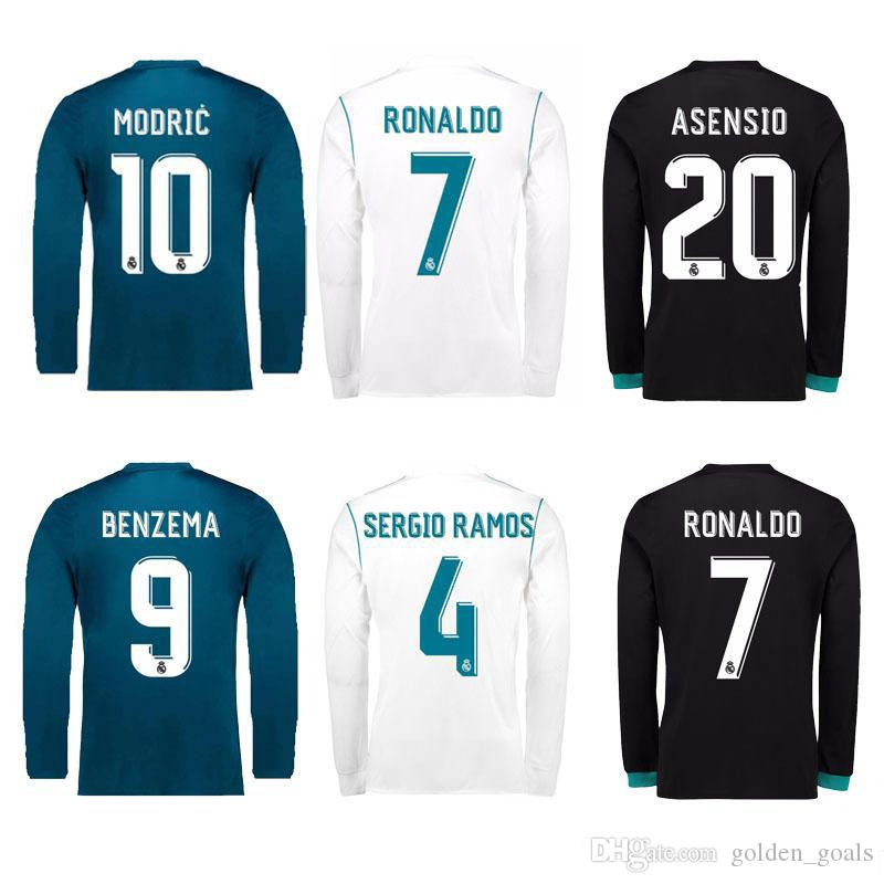 70dff7c3a 2019 2017 2018 Real Madrid Men Long Sleeve Soccer Jerseys RONALDO White  Blue SERGIO RAMOS JAMES BALE RAMOS ISCO MODRIC Benzema Football Shirts From  ...