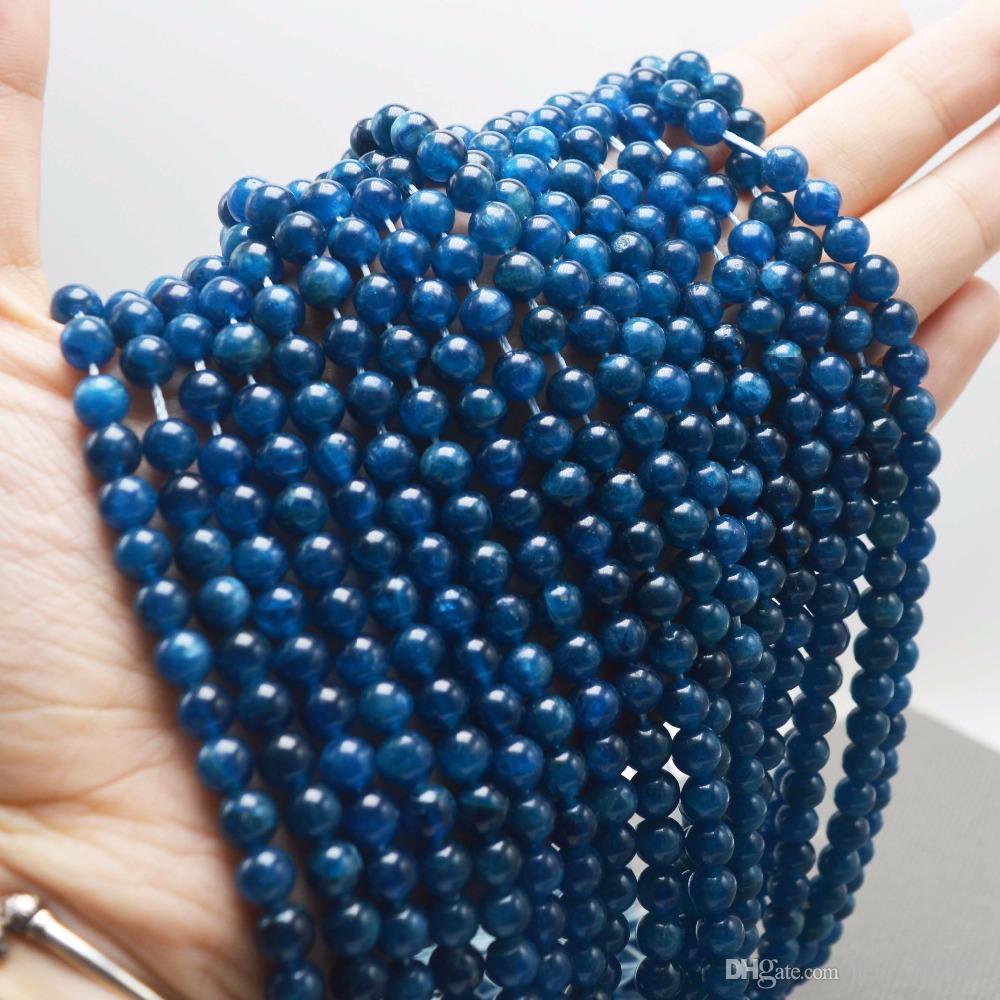 Natürliche tiefe Bule Apatit Lose Runde Perlen 6mm