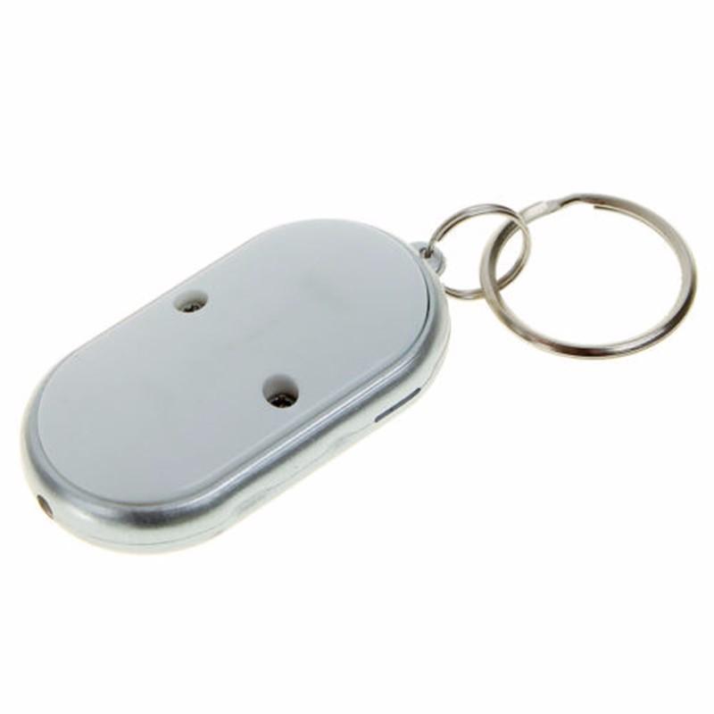 argento LED Trova Finder chiave Trova chiavi perse catena portachiavi fischio suono controllo portachiavi anelli gioielli donna uomo