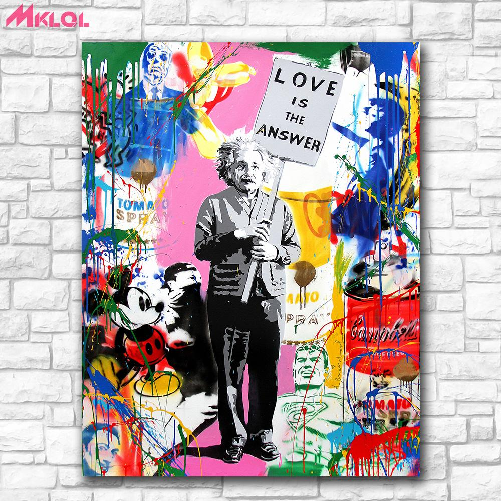 2018 einstein graffiticanvas prints wall art oil painting home decor unframed framed from chai2018 6 84 dhgate com