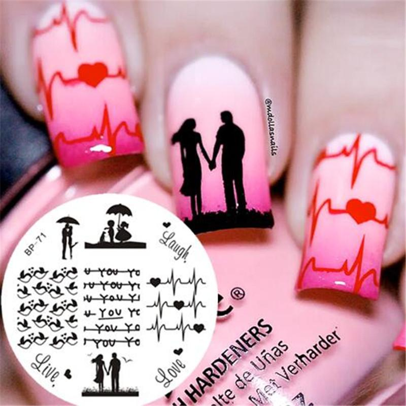 Born Pretty Love Theme Nail Art Stamping Template Cute Birds Design ...