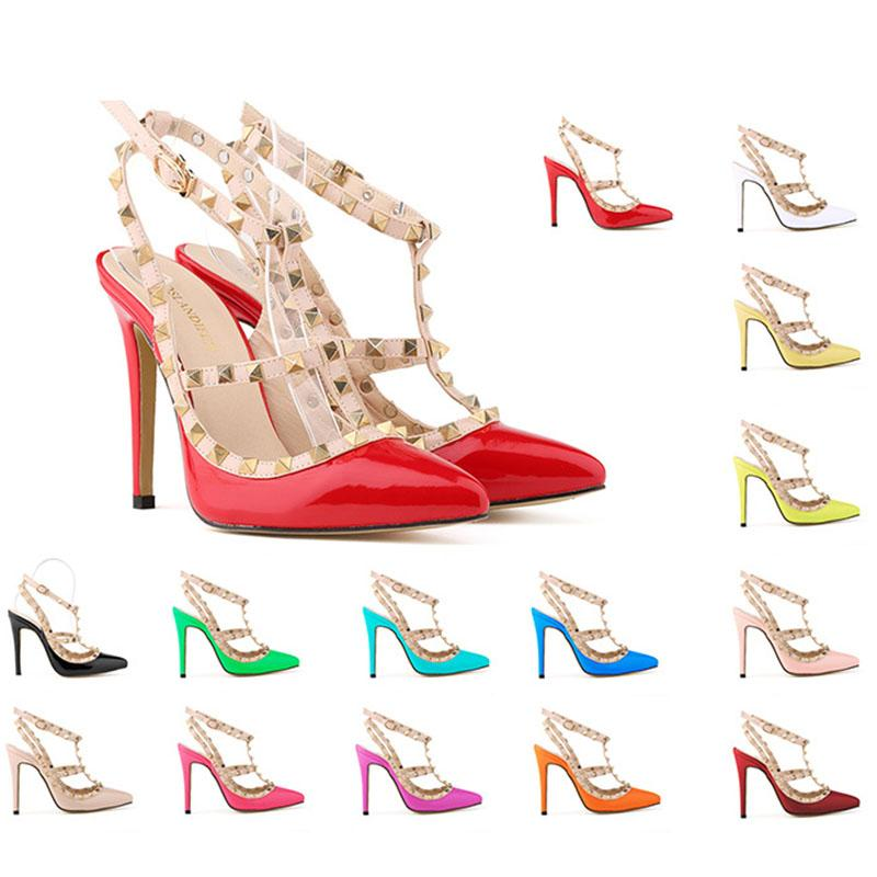 7930ad3f2c36 2018 High Quality Fashion Wedding Women Girls High Heels Heeled Pumps Dress  Shoes Party Fashion Rivets Girls Sexy Pointed Toe Shoes Fringe Sandals  Silver ...